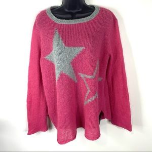 Wooden Ships Pink Gray Star Loose Weave Sweater